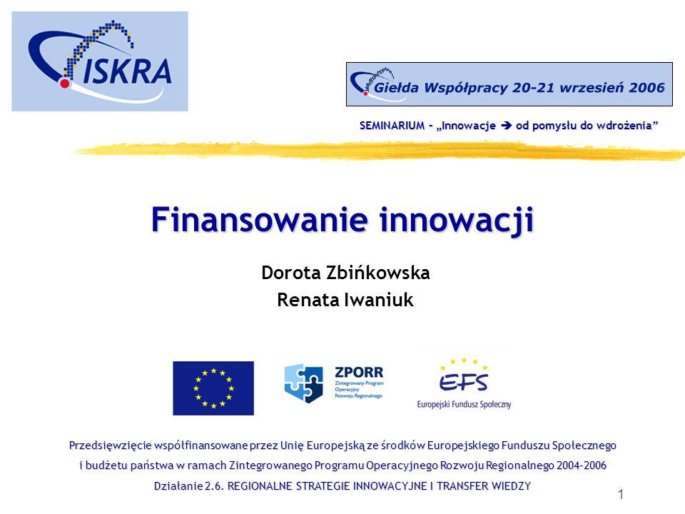 1 Finansowanie innowacji Dorota Zbińkowska Renata Iwaniuk Przedsięwzięcie współfinansowane przez Unię Europejską ze środków Europejskiego Funduszu Społecznego i budżetu państwa w ramach Zintegrowanego Programu Operacyjnego Rozwoju Regionalnego 2004-2006 Działanie 2.6.