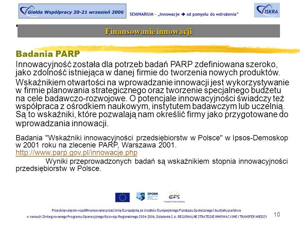 """10 Tematyka sesji SEMINARIUM – """"Innowacje  od pomysłu do wdrożenia Finansowanie innowacji Przedsięwzięcie współfinansowane przez Unię Europejską ze środków Europejskiego Funduszu Społecznego i budżetu państwa w ramach Zintegrowanego Programu Operacyjnego Rozwoju Regionalnego 2004-2006, Działanie 2.6."""