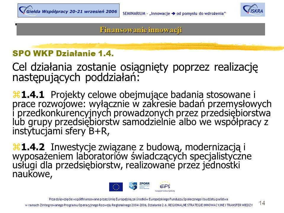 """14 Tematyka sesji SEMINARIUM – """"Innowacje  od pomysłu do wdrożenia Finansowanie innowacji Przedsięwzięcie współfinansowane przez Unię Europejską ze środków Europejskiego Funduszu Społecznego i budżetu państwa w ramach Zintegrowanego Programu Operacyjnego Rozwoju Regionalnego 2004-2006, Działanie 2.6."""
