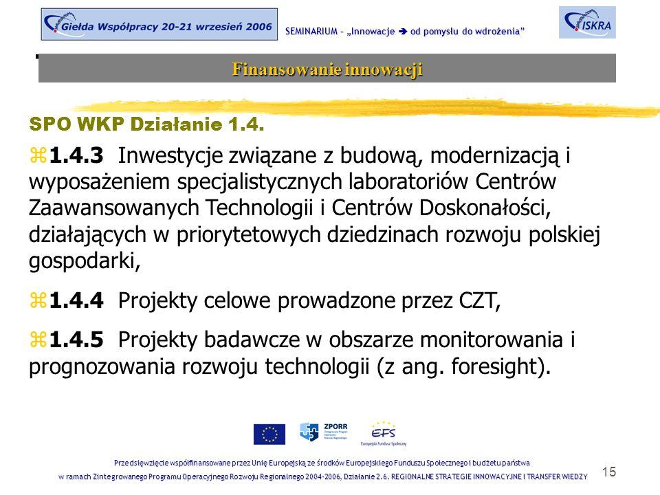 """15 Tematyka sesji SEMINARIUM – """"Innowacje  od pomysłu do wdrożenia Finansowanie innowacji Przedsięwzięcie współfinansowane przez Unię Europejską ze środków Europejskiego Funduszu Społecznego i budżetu państwa w ramach Zintegrowanego Programu Operacyjnego Rozwoju Regionalnego 2004-2006, Działanie 2.6."""