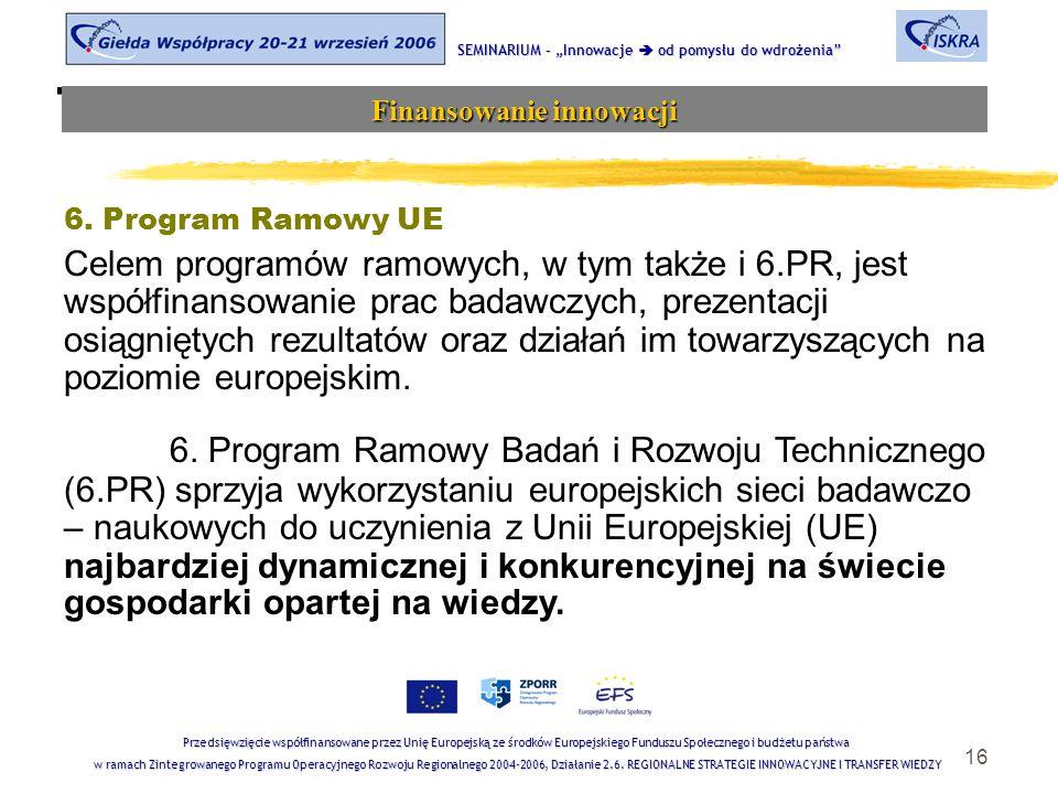 """16 Tematyka sesji SEMINARIUM – """"Innowacje  od pomysłu do wdrożenia Finansowanie innowacji Przedsięwzięcie współfinansowane przez Unię Europejską ze środków Europejskiego Funduszu Społecznego i budżetu państwa w ramach Zintegrowanego Programu Operacyjnego Rozwoju Regionalnego 2004-2006, Działanie 2.6."""