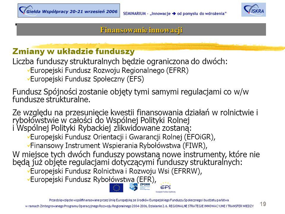 """19 Tematyka sesji SEMINARIUM – """"Innowacje  od pomysłu do wdrożenia Finansowanie innowacji Przedsięwzięcie współfinansowane przez Unię Europejską ze środków Europejskiego Funduszu Społecznego i budżetu państwa w ramach Zintegrowanego Programu Operacyjnego Rozwoju Regionalnego 2004-2006, Działanie 2.6."""