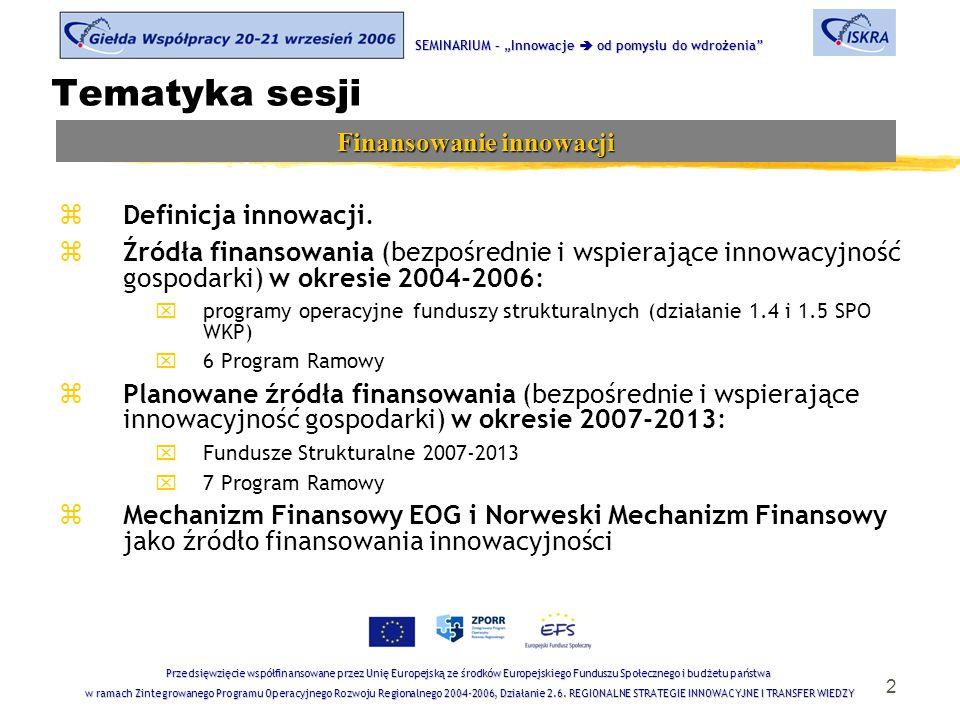 2 Tematyka sesji zDefinicja innowacji. zŹródła finansowania (bezpośrednie i wspierające innowacyjność gospodarki) w okresie 2004-2006: xprogramy opera