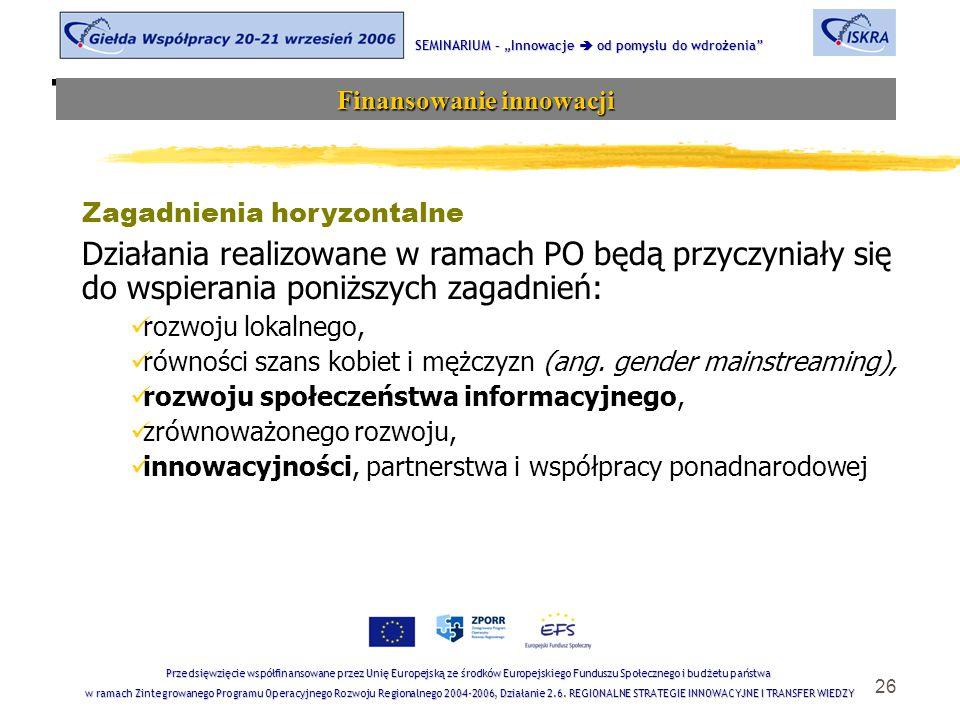 """26 Tematyka sesji SEMINARIUM – """"Innowacje  od pomysłu do wdrożenia Finansowanie innowacji Przedsięwzięcie współfinansowane przez Unię Europejską ze środków Europejskiego Funduszu Społecznego i budżetu państwa w ramach Zintegrowanego Programu Operacyjnego Rozwoju Regionalnego 2004-2006, Działanie 2.6."""