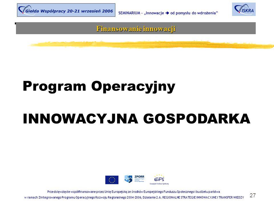 """27 Tematyka sesji SEMINARIUM – """"Innowacje  od pomysłu do wdrożenia Finansowanie innowacji Przedsięwzięcie współfinansowane przez Unię Europejską ze środków Europejskiego Funduszu Społecznego i budżetu państwa w ramach Zintegrowanego Programu Operacyjnego Rozwoju Regionalnego 2004-2006, Działanie 2.6."""
