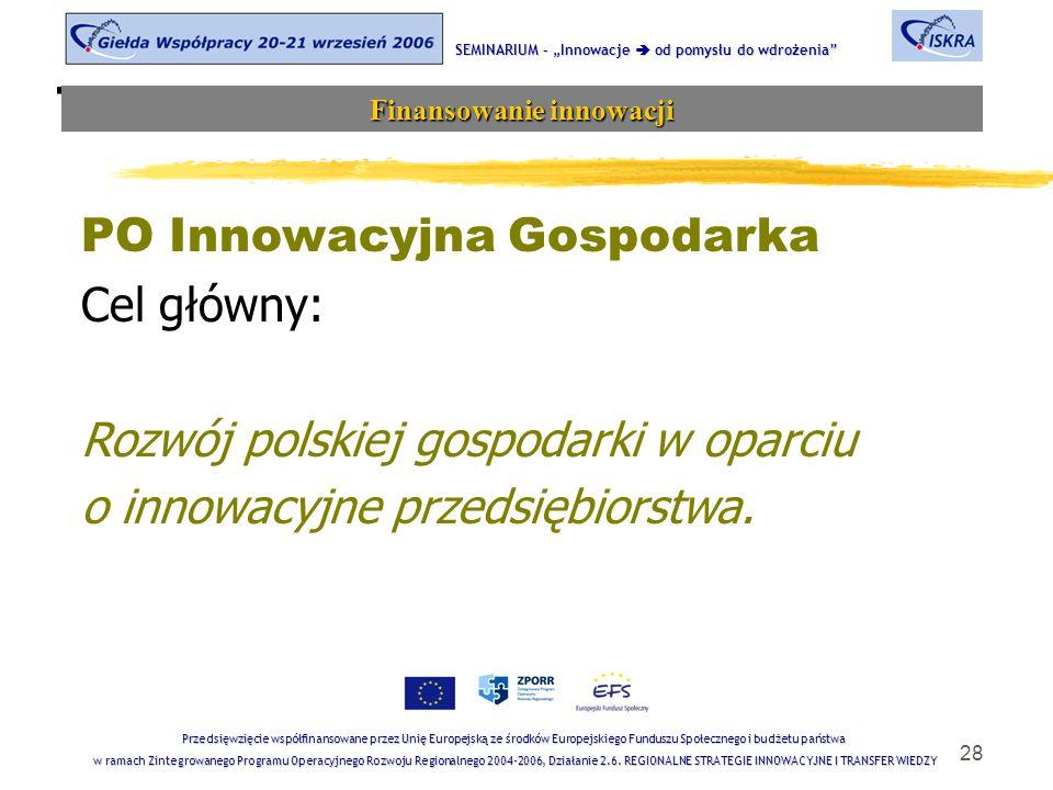 """28 Tematyka sesji SEMINARIUM – """"Innowacje  od pomysłu do wdrożenia Finansowanie innowacji Przedsięwzięcie współfinansowane przez Unię Europejską ze środków Europejskiego Funduszu Społecznego i budżetu państwa w ramach Zintegrowanego Programu Operacyjnego Rozwoju Regionalnego 2004-2006, Działanie 2.6."""