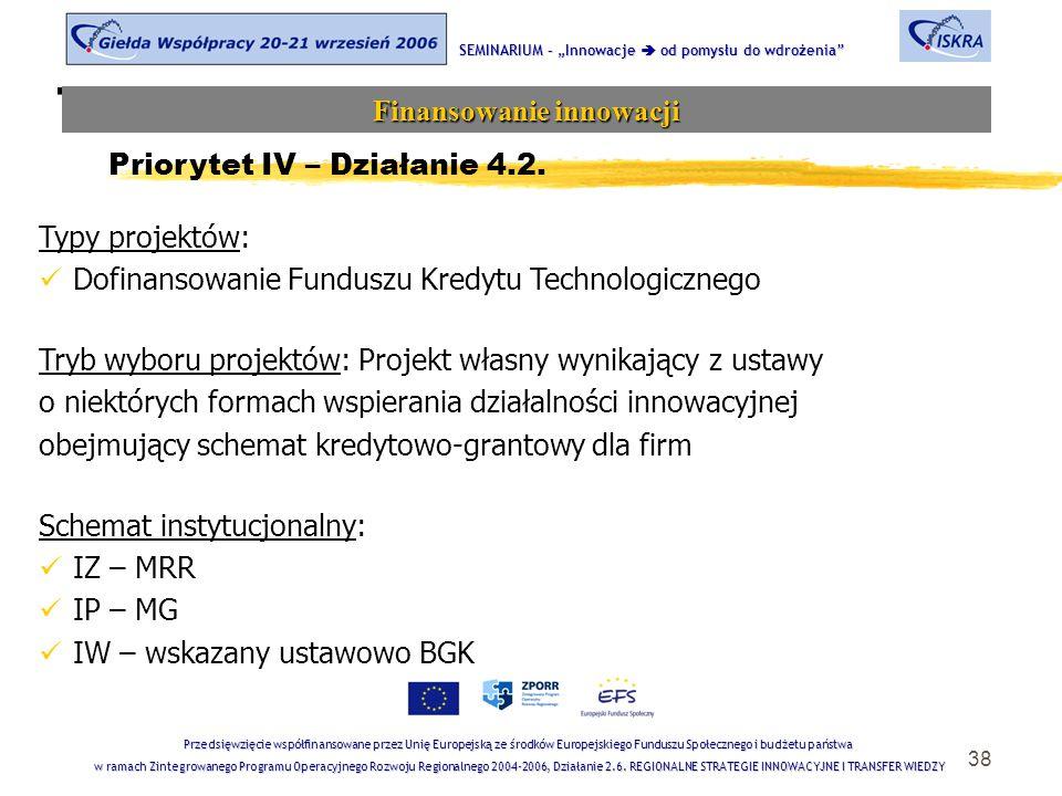 """38 Tematyka sesji SEMINARIUM – """"Innowacje  od pomysłu do wdrożenia Finansowanie innowacji Przedsięwzięcie współfinansowane przez Unię Europejską ze środków Europejskiego Funduszu Społecznego i budżetu państwa w ramach Zintegrowanego Programu Operacyjnego Rozwoju Regionalnego 2004-2006, Działanie 2.6."""