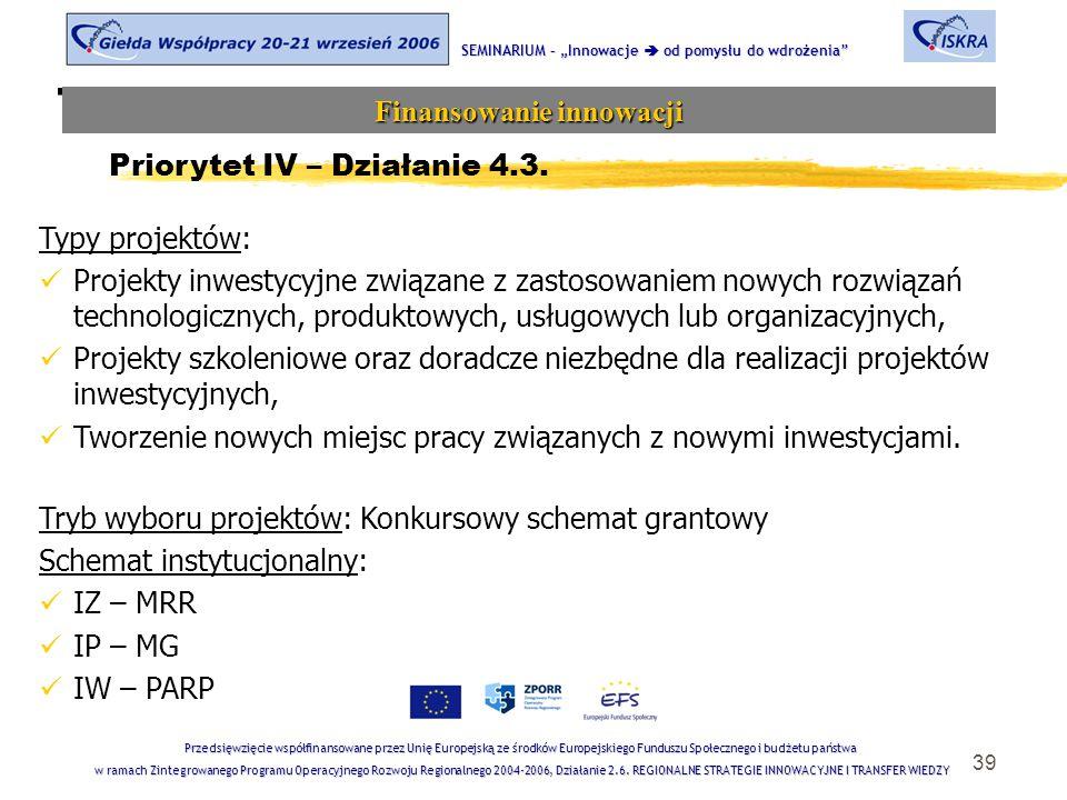 """39 Tematyka sesji SEMINARIUM – """"Innowacje  od pomysłu do wdrożenia Finansowanie innowacji Przedsięwzięcie współfinansowane przez Unię Europejską ze środków Europejskiego Funduszu Społecznego i budżetu państwa w ramach Zintegrowanego Programu Operacyjnego Rozwoju Regionalnego 2004-2006, Działanie 2.6."""
