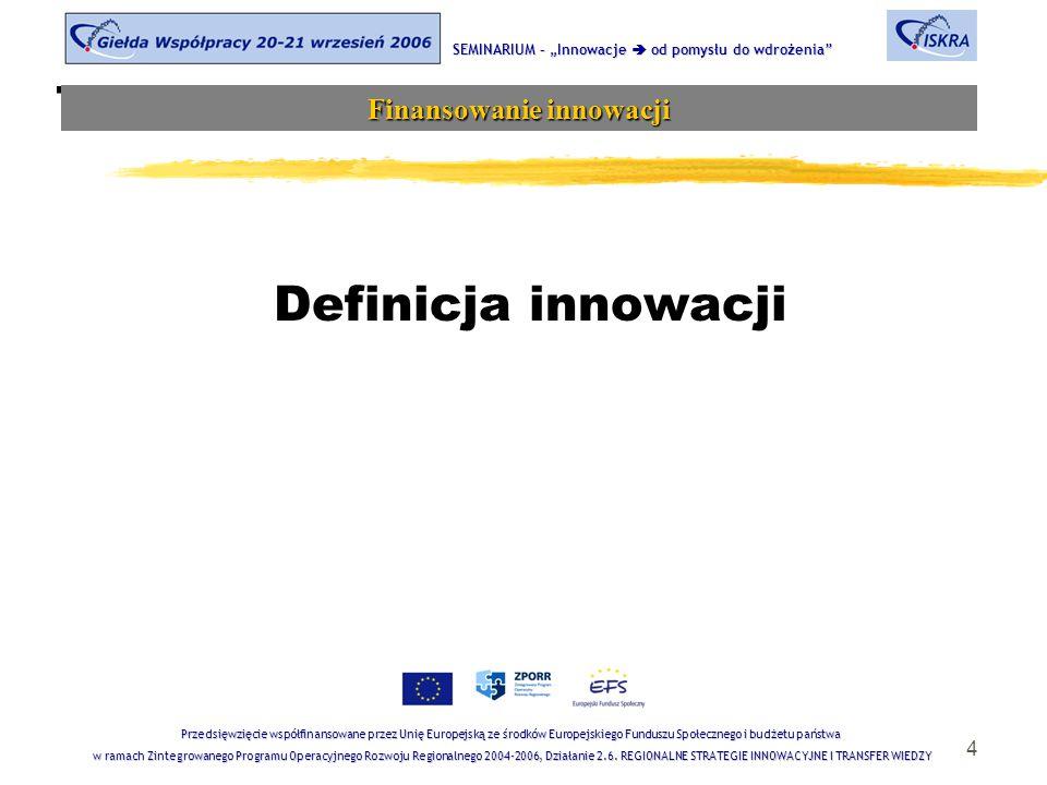 """4 Tematyka sesji Definicja innowacji SEMINARIUM – """"Innowacje  od pomysłu do wdrożenia Finansowanie innowacji Przedsięwzięcie współfinansowane przez Unię Europejską ze środków Europejskiego Funduszu Społecznego i budżetu państwa w ramach Zintegrowanego Programu Operacyjnego Rozwoju Regionalnego 2004-2006, Działanie 2.6."""