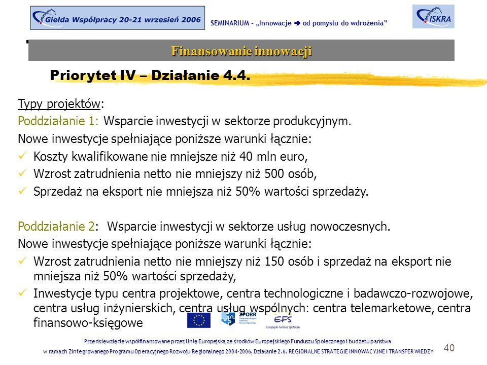 """40 Tematyka sesji SEMINARIUM – """"Innowacje  od pomysłu do wdrożenia Finansowanie innowacji Przedsięwzięcie współfinansowane przez Unię Europejską ze środków Europejskiego Funduszu Społecznego i budżetu państwa w ramach Zintegrowanego Programu Operacyjnego Rozwoju Regionalnego 2004-2006, Działanie 2.6."""