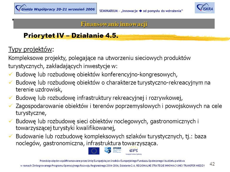 """42 Tematyka sesji SEMINARIUM – """"Innowacje  od pomysłu do wdrożenia Finansowanie innowacji Przedsięwzięcie współfinansowane przez Unię Europejską ze środków Europejskiego Funduszu Społecznego i budżetu państwa w ramach Zintegrowanego Programu Operacyjnego Rozwoju Regionalnego 2004-2006, Działanie 2.6."""