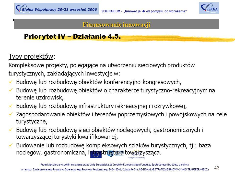 """43 Tematyka sesji SEMINARIUM – """"Innowacje  od pomysłu do wdrożenia Finansowanie innowacji Przedsięwzięcie współfinansowane przez Unię Europejską ze środków Europejskiego Funduszu Społecznego i budżetu państwa w ramach Zintegrowanego Programu Operacyjnego Rozwoju Regionalnego 2004-2006, Działanie 2.6."""