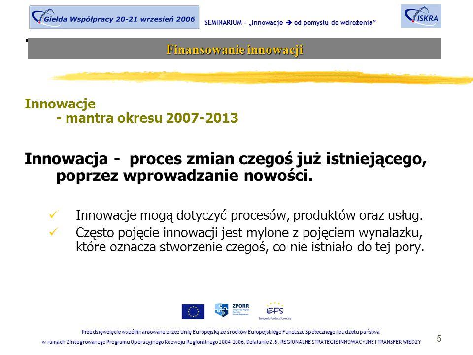 5 Tematyka sesji Innowacje - mantra okresu 2007-2013 Innowacja - proces zmian czegoś już istniejącego, poprzez wprowadzanie nowości. Innowacje mogą do