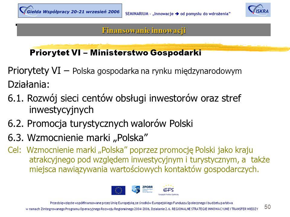 """50 Tematyka sesji SEMINARIUM – """"Innowacje  od pomysłu do wdrożenia Finansowanie innowacji Przedsięwzięcie współfinansowane przez Unię Europejską ze środków Europejskiego Funduszu Społecznego i budżetu państwa w ramach Zintegrowanego Programu Operacyjnego Rozwoju Regionalnego 2004-2006, Działanie 2.6."""