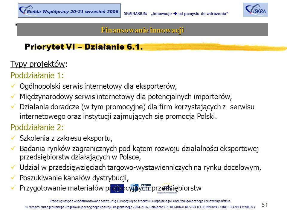"""51 Tematyka sesji SEMINARIUM – """"Innowacje  od pomysłu do wdrożenia Finansowanie innowacji Przedsięwzięcie współfinansowane przez Unię Europejską ze środków Europejskiego Funduszu Społecznego i budżetu państwa w ramach Zintegrowanego Programu Operacyjnego Rozwoju Regionalnego 2004-2006, Działanie 2.6."""
