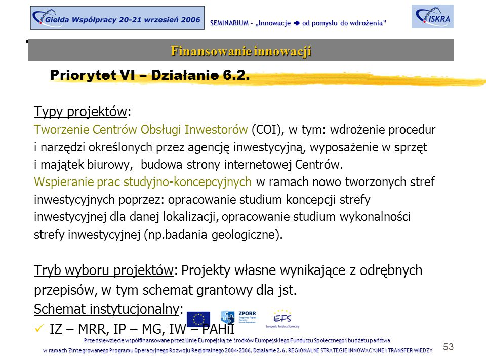 """53 Tematyka sesji SEMINARIUM – """"Innowacje  od pomysłu do wdrożenia Finansowanie innowacji Przedsięwzięcie współfinansowane przez Unię Europejską ze środków Europejskiego Funduszu Społecznego i budżetu państwa w ramach Zintegrowanego Programu Operacyjnego Rozwoju Regionalnego 2004-2006, Działanie 2.6."""