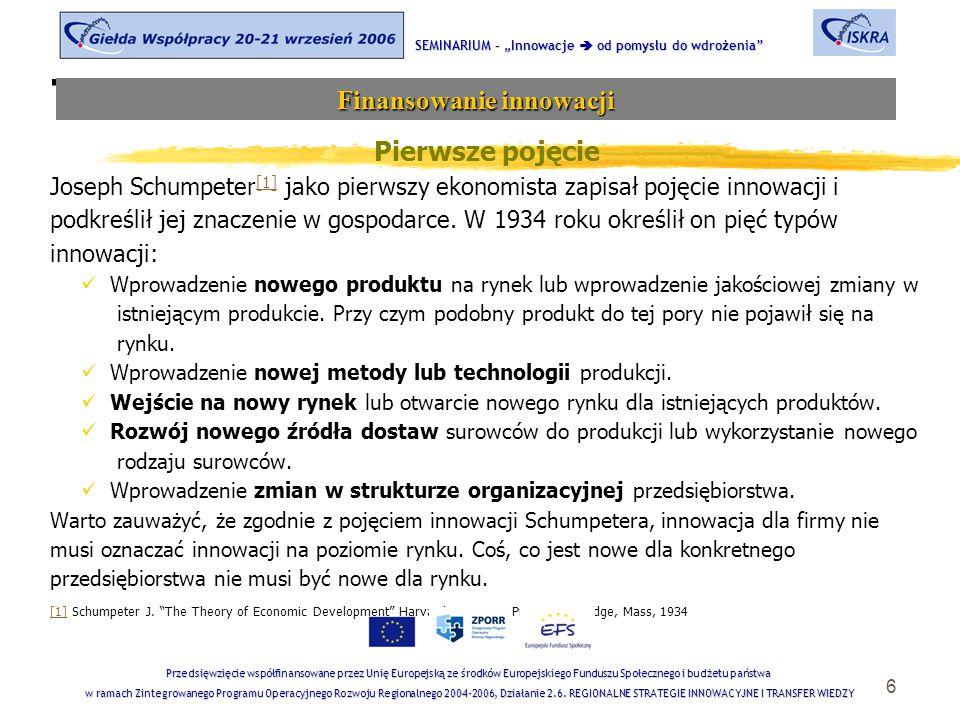 6 Tematyka sesji Pierwsze pojęcie Joseph Schumpeter [1] jako pierwszy ekonomista zapisał pojęcie innowacji i [1] podkreślił jej znaczenie w gospodarce.