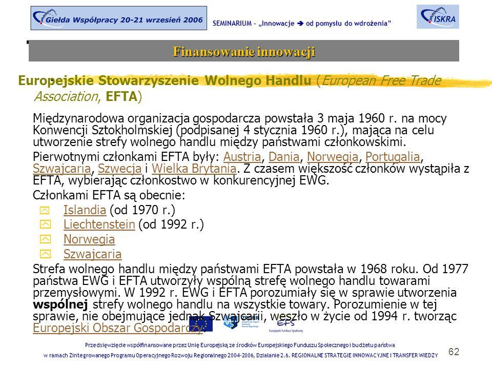 """62 Tematyka sesji SEMINARIUM – """"Innowacje  od pomysłu do wdrożenia Finansowanie innowacji Przedsięwzięcie współfinansowane przez Unię Europejską ze środków Europejskiego Funduszu Społecznego i budżetu państwa w ramach Zintegrowanego Programu Operacyjnego Rozwoju Regionalnego 2004-2006, Działanie 2.6."""