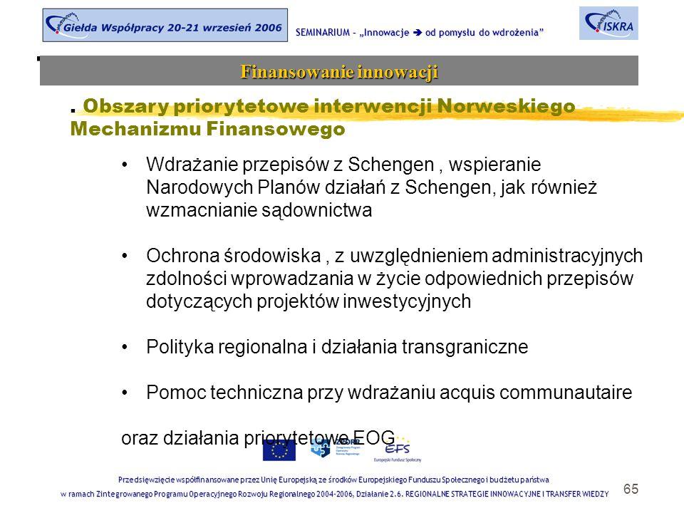 """65 Tematyka sesji SEMINARIUM – """"Innowacje  od pomysłu do wdrożenia Finansowanie innowacji Przedsięwzięcie współfinansowane przez Unię Europejską ze środków Europejskiego Funduszu Społecznego i budżetu państwa w ramach Zintegrowanego Programu Operacyjnego Rozwoju Regionalnego 2004-2006, Działanie 2.6."""