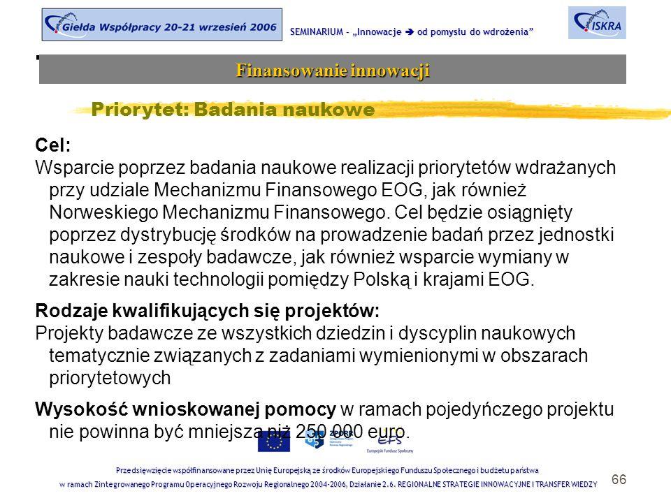 """66 Tematyka sesji SEMINARIUM – """"Innowacje  od pomysłu do wdrożenia Finansowanie innowacji Przedsięwzięcie współfinansowane przez Unię Europejską ze środków Europejskiego Funduszu Społecznego i budżetu państwa w ramach Zintegrowanego Programu Operacyjnego Rozwoju Regionalnego 2004-2006, Działanie 2.6."""