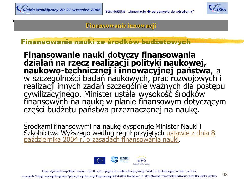 """68 Tematyka sesji SEMINARIUM – """"Innowacje  od pomysłu do wdrożenia Finansowanie innowacji Przedsięwzięcie współfinansowane przez Unię Europejską ze środków Europejskiego Funduszu Społecznego i budżetu państwa w ramach Zintegrowanego Programu Operacyjnego Rozwoju Regionalnego 2004-2006, Działanie 2.6."""
