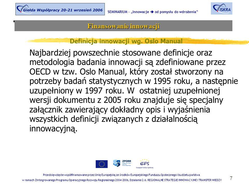 7 Tematyka sesji Definicja innowacji wg. Oslo Manual Najbardziej powszechnie stosowane definicje oraz metodologia badania innowacji są zdefiniowane pr