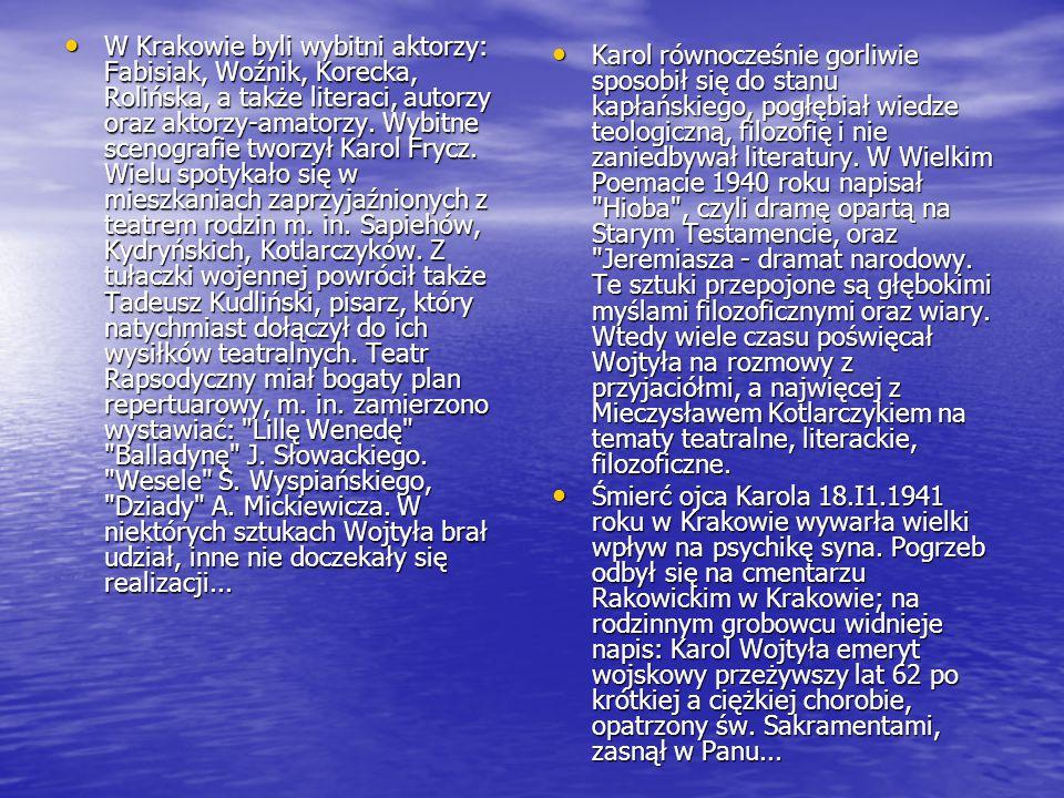 W Krakowie byli wybitni aktorzy: Fabisiak, Woźnik, Korecka, Rolińska, a także literaci, autorzy oraz aktorzy-amatorzy.