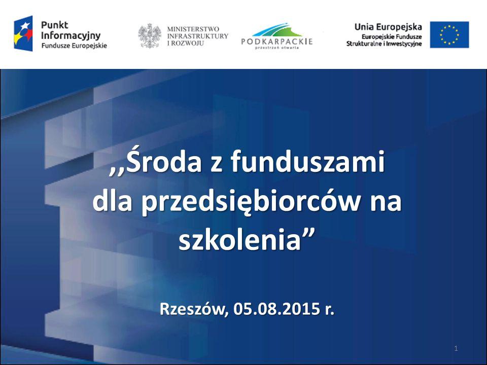 ,,Środa z funduszami dla przedsiębiorców na szkolenia Rzeszów, 05.08.2015 r. 1