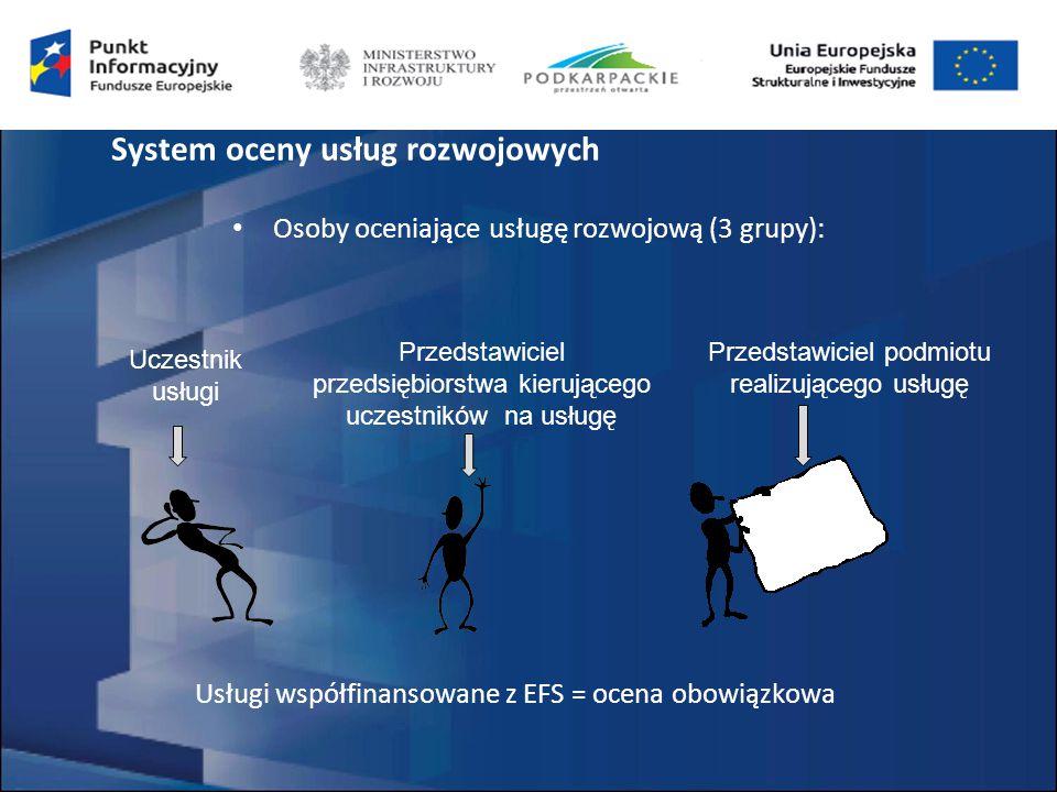 Osoby oceniające usługę rozwojową (3 grupy): Uczestnik usługi Przedstawiciel przedsiębiorstwa kierującego uczestników na usługę Przedstawiciel podmiotu realizującego usługę Usługi współfinansowane z EFS = ocena obowiązkowa System oceny usług rozwojowych