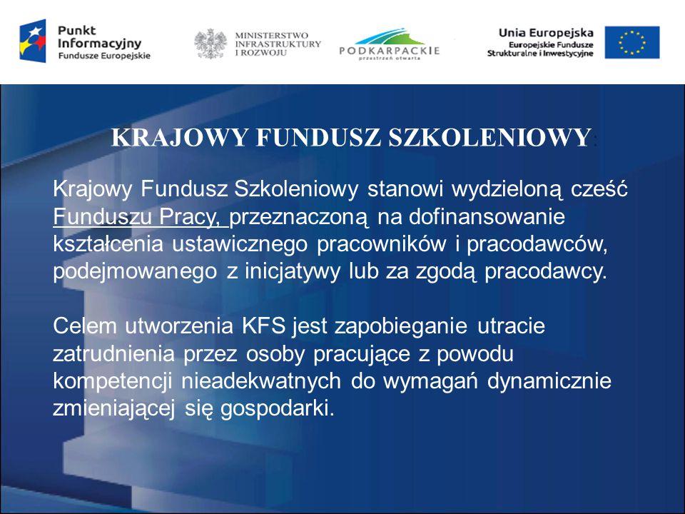 KRAJOWY FUNDUSZ SZKOLENIOWY : Krajowy Fundusz Szkoleniowy stanowi wydzieloną cześć Funduszu Pracy, przeznaczoną na dofinansowanie kształcenia ustawicznego pracowników i pracodawców, podejmowanego z inicjatywy lub za zgodą pracodawcy.