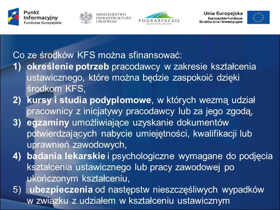 Co ze środków KFS można sfinansować: 1)określenie potrzeb pracodawcy w zakresie kształcenia ustawicznego, które można będzie zaspokoić dzięki środkom KFS, 2)kursy i studia podyplomowe, w których wezmą udział pracownicy z inicjatywy pracodawcy lub za jego zgodą, 3)egzaminy umożliwiające uzyskanie dokumentów potwierdzających nabycie umiejętności, kwalifikacji lub uprawnień zawodowych, 4)badania lekarskie i psychologiczne wymagane do podjęcia kształcenia ustawicznego lub pracy zawodowej po ukończonym kształceniu, 5) ubezpieczenia od następstw nieszczęśliwych wypadków w związku z udziałem w kształceniu ustawicznym