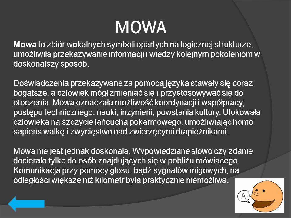 MOWA Mowa to zbiór wokalnych symboli opartych na logicznej strukturze, umożliwiła przekazywanie informacji i wiedzy kolejnym pokoleniom w doskonalszy