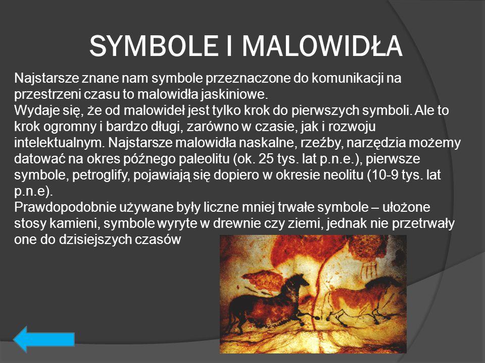 SYMBOLE I MALOWIDŁA Najstarsze znane nam symbole przeznaczone do komunikacji na przestrzeni czasu to malowidła jaskiniowe. Wydaje się, że od malowideł