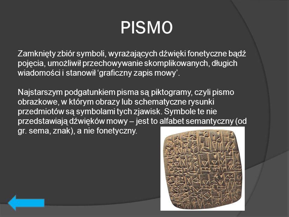 PISMO Zamknięty zbiór symboli, wyrażających dźwięki fonetyczne bądź pojęcia, umożliwił przechowywanie skomplikowanych, długich wiadomości i stanowił '