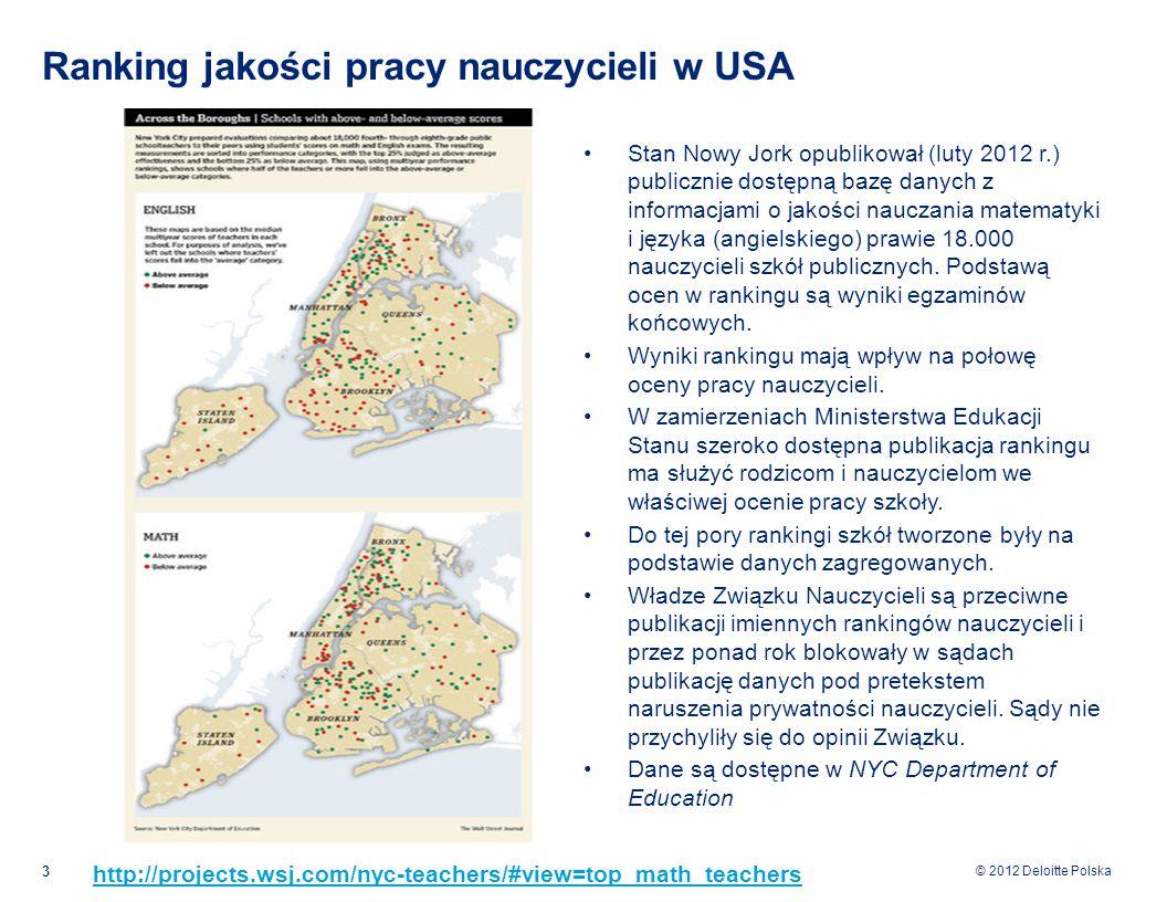 © 2012 Deloitte Polska Ranking jakości pracy nauczycieli w USA Stan Nowy Jork opublikował (luty 2012 r.) publicznie dostępną bazę danych z informacjami o jakości nauczania matematyki i języka (angielskiego) prawie 18.000 nauczycieli szkół publicznych.