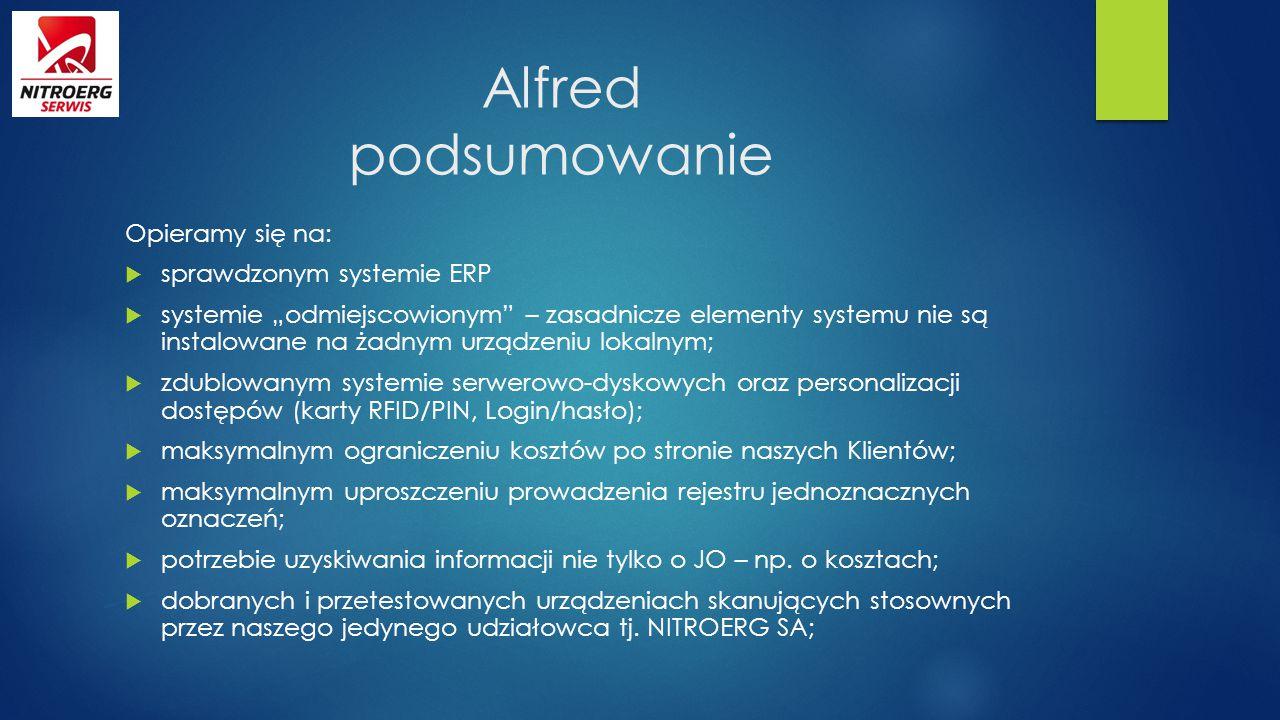 """Alfred podsumowanie Opieramy się na:  sprawdzonym systemie ERP  systemie """"odmiejscowionym"""" – zasadnicze elementy systemu nie są instalowane na żadny"""
