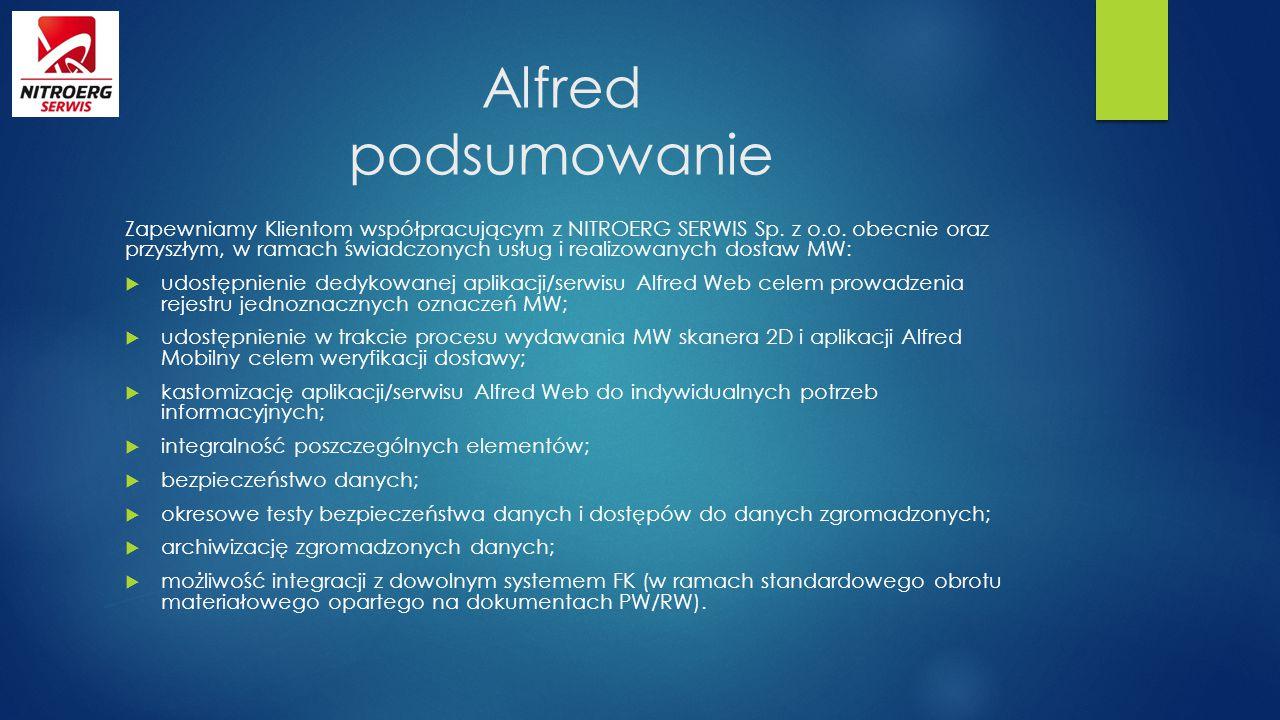 Alfred podsumowanie Zapewniamy Klientom współpracującym z NITROERG SERWIS Sp. z o.o. obecnie oraz przyszłym, w ramach świadczonych usług i realizowany