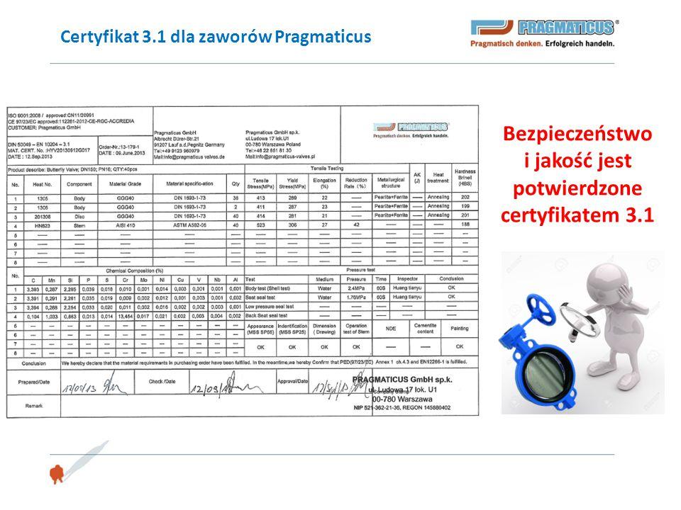 Certyfikat 3.1 dla zaworów Pragmaticus Bezpieczeństwo i jakość jest potwierdzone certyfikatem 3.1