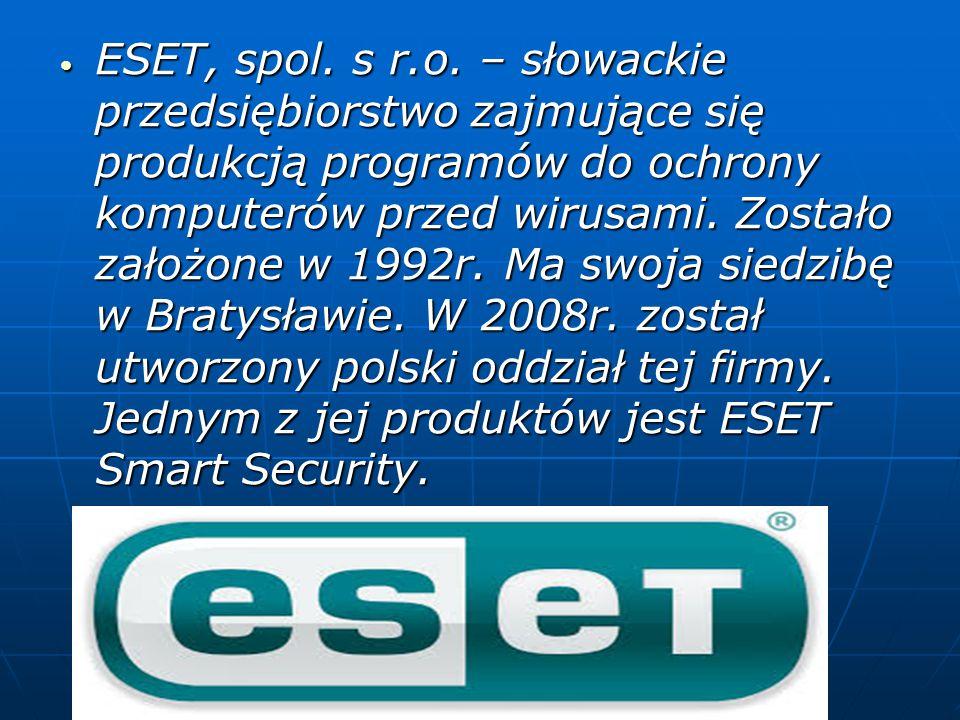 ESET, spol. s r.o. – słowackie przedsiębiorstwo zajmujące się produkcją programów do ochrony komputerów przed wirusami. Zostało założone w 1992r. Ma s