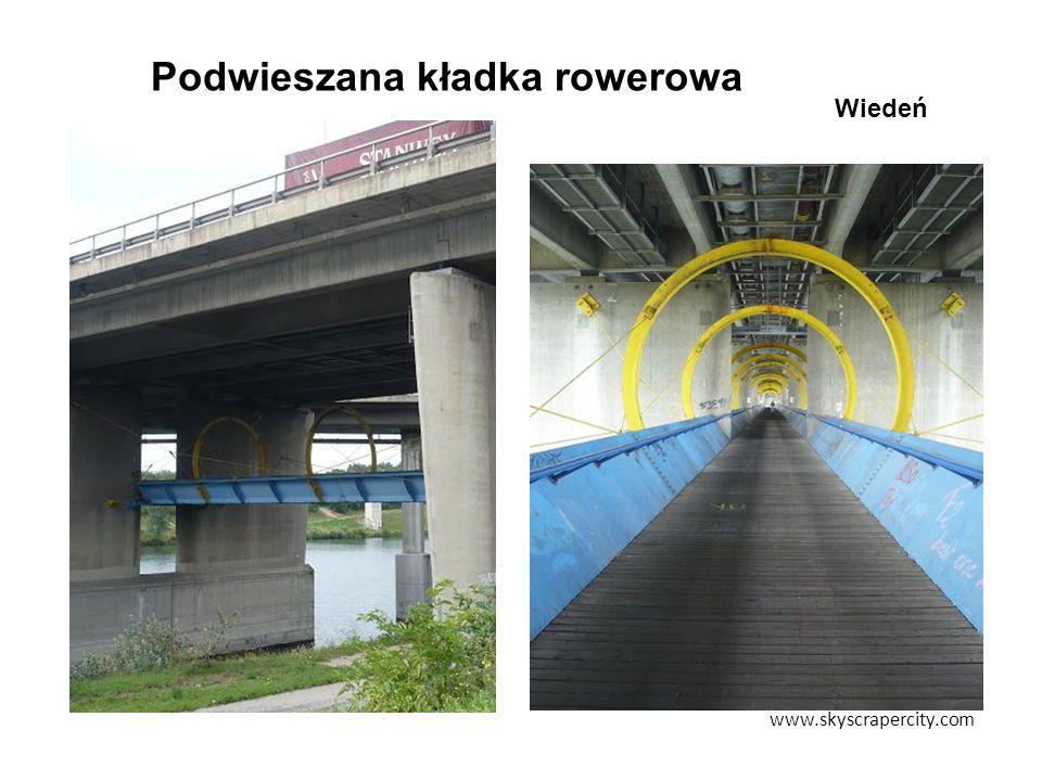 Podwieszana kładka rowerowa www.skyscrapercity.com Wiedeń