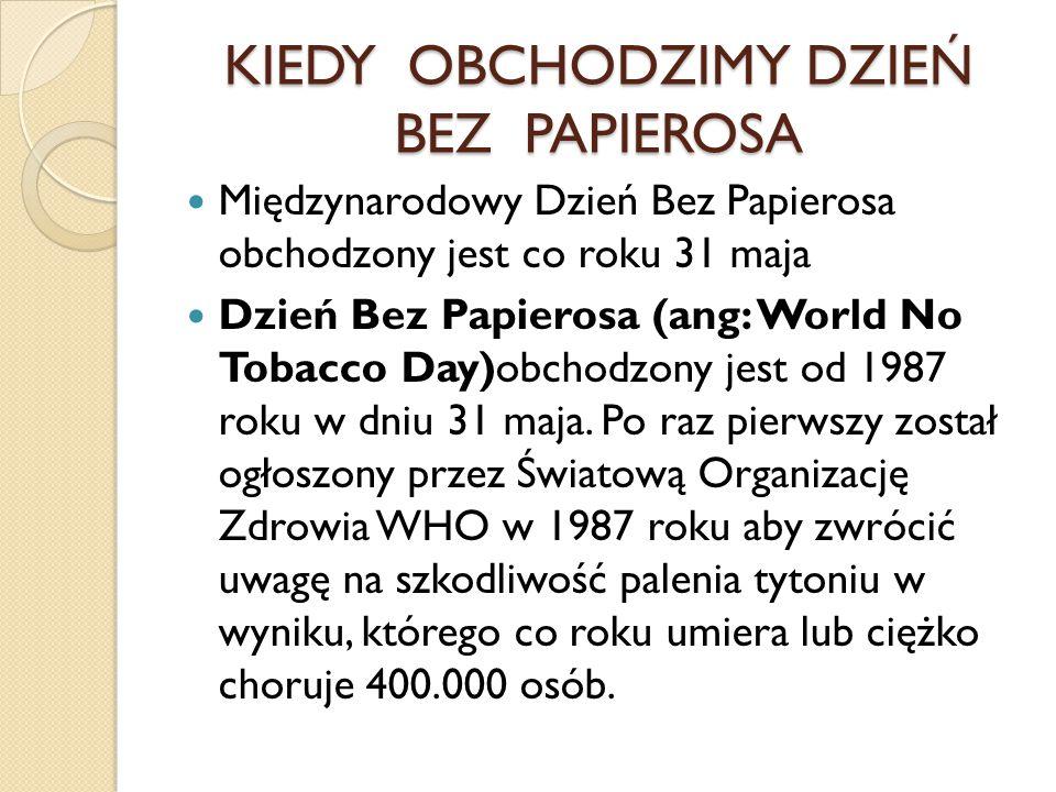 KIEDY OBCHODZIMY DZIEŃ BEZ PAPIEROSA Międzynarodowy Dzień Bez Papierosa obchodzony jest co roku 31 maja Dzień Bez Papierosa (ang: World No Tobacco Day