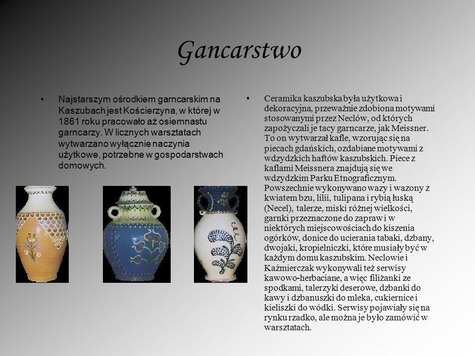 Gancarstwo Najstarszym ośrodkiem garncarskim na Kaszubach jest Kościerzyna, w której w 1861 roku pracowało aż osiemnastu garncarzy. W licznych warszta