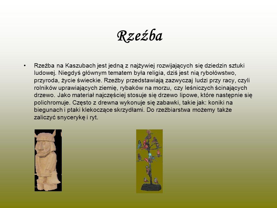 Rzeźba Rzeźba na Kaszubach jest jedną z najżywiej rozwijających się dziedzin sztuki ludowej. Niegdyś głównym tematem była religia, dziś jest nią ryboł