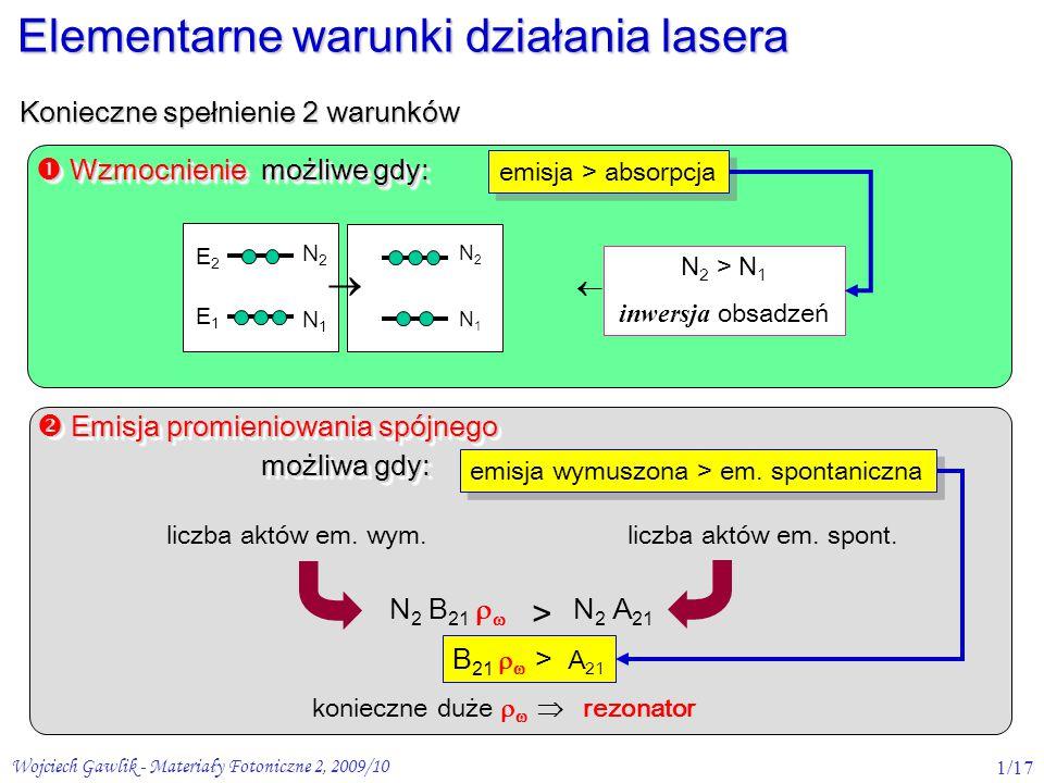 """Wojciech Gawlik - Materiały Fotoniczne 2, 2009/102/17 laser na swobodnych elektronach (FEL) laser gazowy He-Ne laser """"stałociałowy np."""