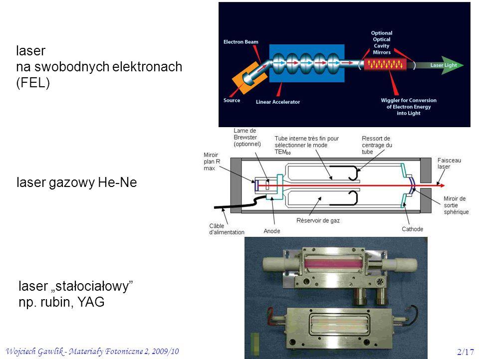 """Wojciech Gawlik - Materiały Fotoniczne 2, 2009/103/17 O ś rodki laserowe/wzmacniaj ą ce możliwość kreowania inwersji (z """"zapasem dla pokonania strat) przezroczystość dla promieniowania (generowanego i wzbudzającego) wytrzymałość na zniszczenia (kryształy, ciecze, gazy + mat."""