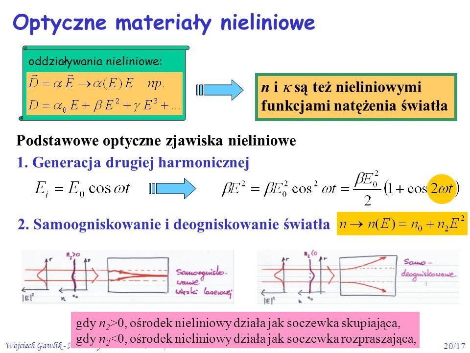 Wojciech Gawlik - Materiały Fotoniczne 2, 2009/1020/17 Optyczne materiały nieliniowe oddziaływania nieliniowe: n i  są też nieliniowymi funkcjami natężenia światła 1.