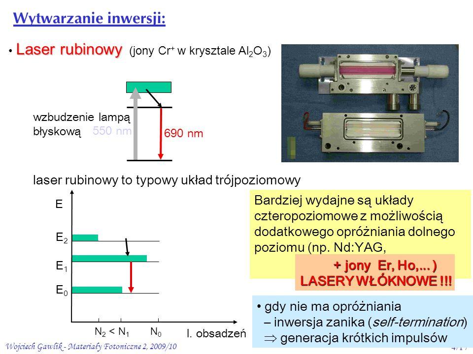 Wojciech Gawlik - Materiały Fotoniczne 2, 2009/104/17 Laser rubinowy Laser rubinowy (jony Cr + w krysztale Al 2 O 3 ) 550 nm 690 nm wzbudzenie lampą błyskową l.