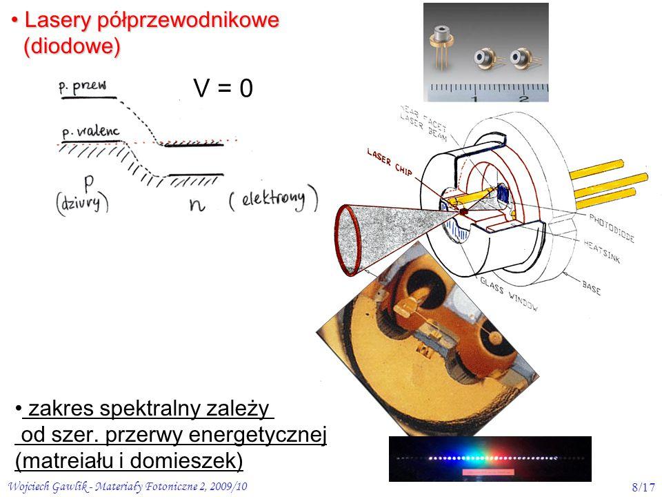 Wojciech Gawlik - Materiały Fotoniczne 2, 2009/1029/17 Optyczne własności materiałów prawo Lamberta-Beera: L Absorpcja Rozproszenie światła Odbicie światła I R =I 0 R Transmisja zależy od odbicia i absorpcji np.