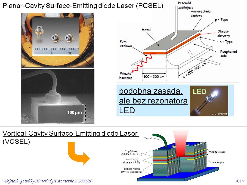 Wojciech Gawlik - Materiały Fotoniczne 2, 2009/109/17 Planar-Cavity Surface-Emitting diode Laser (PCSEL) Vertical-Cavity Surface-Emitting diode Laser (VCSEL) podobna zasada, ale bez rezonatora LEDLED