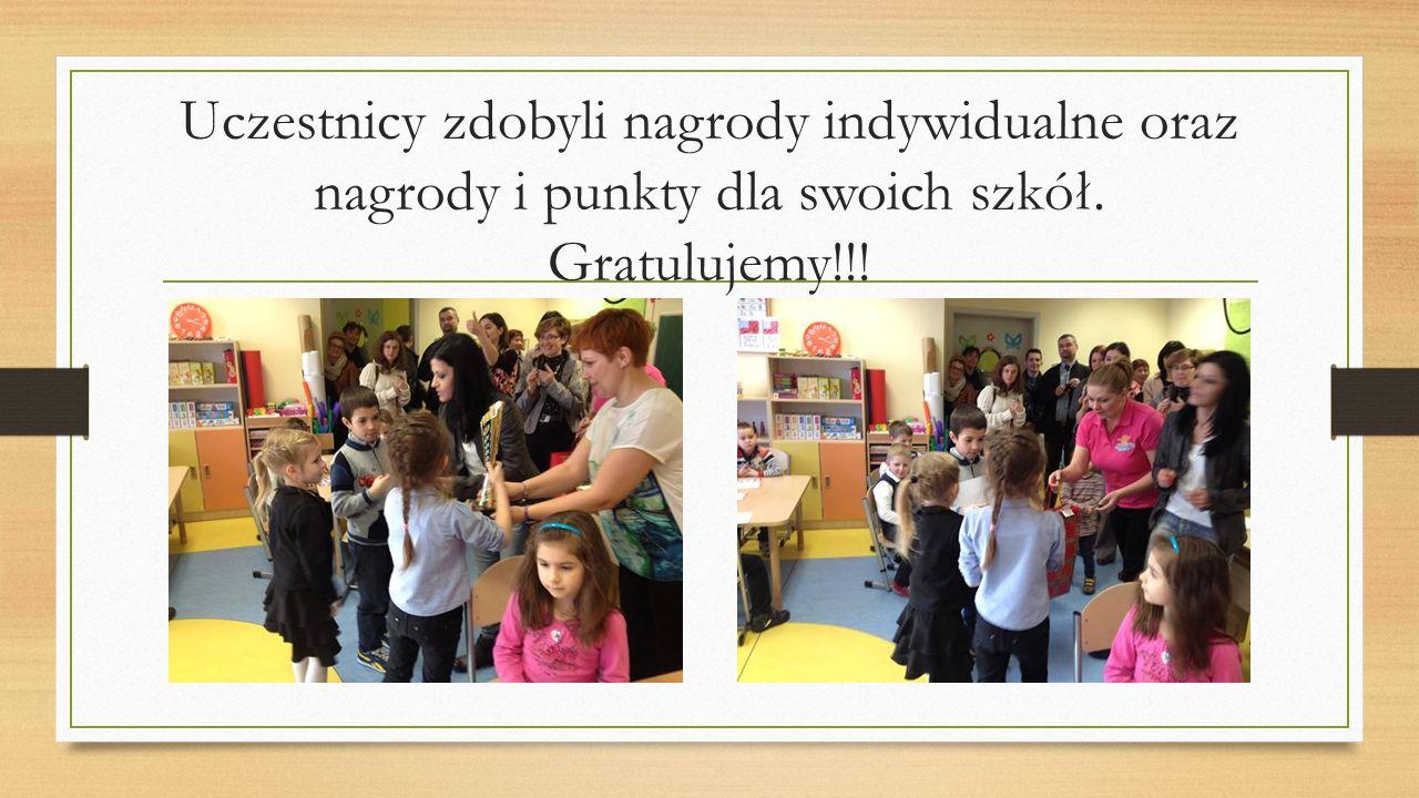 Uczestnicy zdobyli nagrody indywidualne oraz nagrody i punkty dla swoich szkół. Gratulujemy!!!